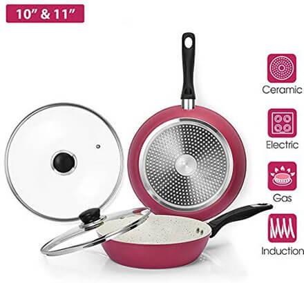 CSK White & Pink Nonstick Ceramic Pan