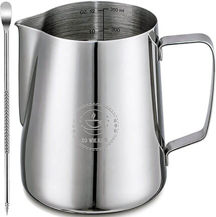 ZOWIE KING Milk Steaming Pitchers with Decorating Art Pen