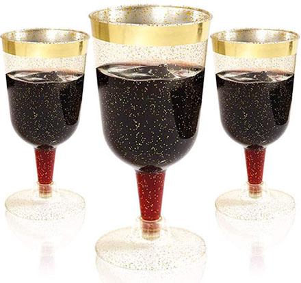BUCLA Gold Plastic Wine Glasses