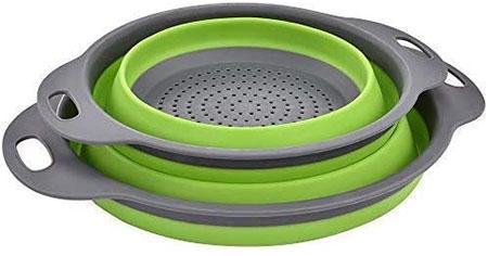 Enkousa Green Collapsible Colander 2 Sets