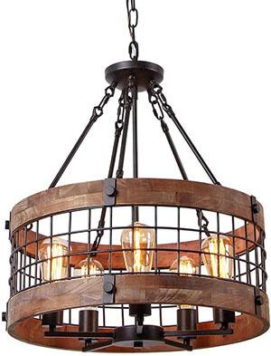 Anmytek Round Wooden Chandelier