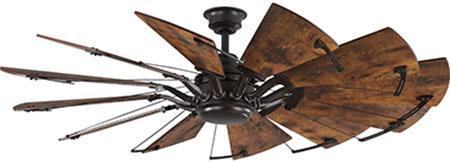 Springer Collection Distressed Walnut Coastal Windmill Ceiling Fan