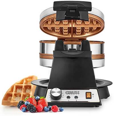 CRUX Double Rotating Belgian Waffle Maker